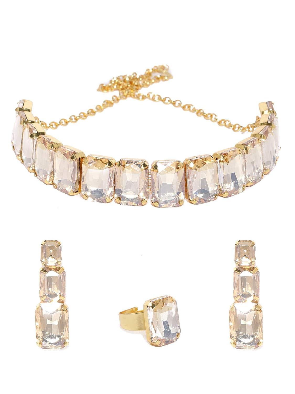Zaveri Pearls Crystal Shine Stones Studded Contemporary Necklace, Earring &  Finger Ring Set For Women ZPFK15