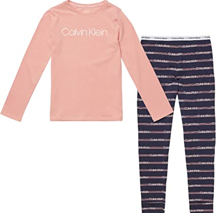 Calvin Klein Knit PJ Set (LS+Cuffed) Pijama (Pack de 2) para Niñas