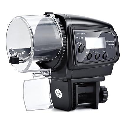 Expresstech @ LCD Alimentador automático de peces Digital Dispensador de Comida con LCD pantalla e Temporizador