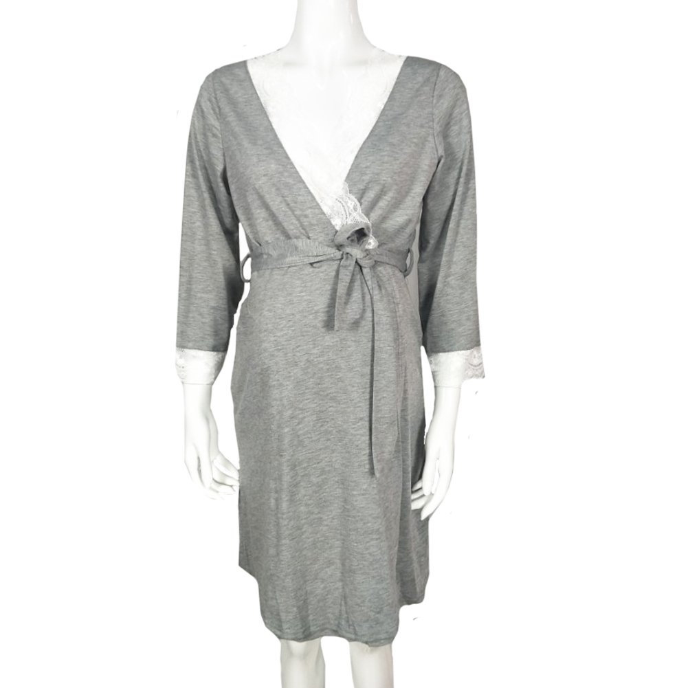 Oliveya Women's Grey Robe Soft Kimono Robe Knit Bathrobe Loungewear Sleepwear XL