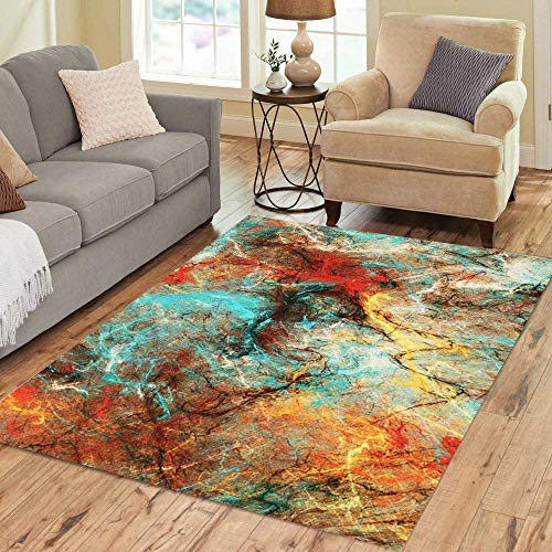 Semtomn Area Rug 2' X 3' Bright Artistic Splashes Abstract Painting Color Modern Futuristic Pattern Home Decor Collection Floor Rugs Carpet for Living Room Bedroom Dining Room