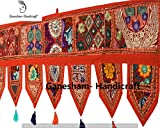 Christmas Decorative- ''80'' Cotton Ethnic Wall Hanging Wall Art Vintage Patchwork Door Valances Window Valances Hand Embroidered Patchwork Toran Boho Bohemian Decor Living Room Decor (Orange)
