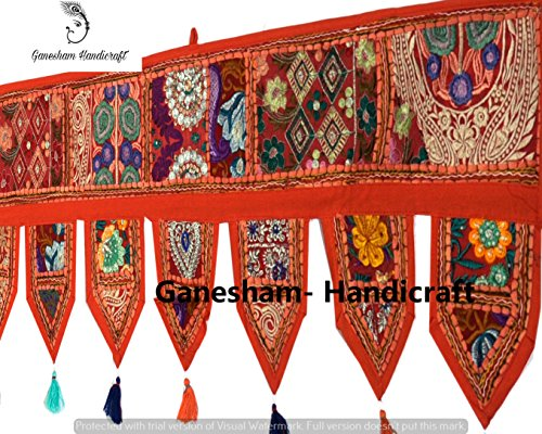 Christmas Decorative- ''80'' Cotton Ethnic Wall Hanging Home Decor Vintage Patchwork Door Topper Valances Window Indian Valances Hand Embroidered Patchwork Toran Boho Bohemian Decor Living Room Decor Christmas Patchwork Wall Hangings