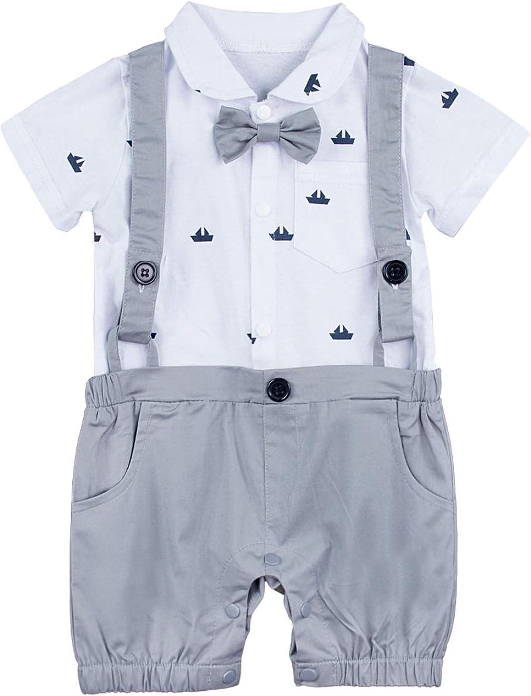 with Bowtie and Hat 3-24 Months mintgreen Baby Boy Gentleman Suspenders Romper 100/% Cotton Printed Bodysuit