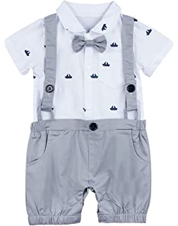 dPois Infant Baby Boys One-Piece Short Sleeves Gentleman Bowtie Romper Jumpsuit Birthday Photography Prop Outfits Baby Boys