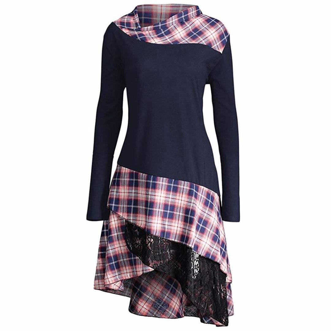 Women Dress Daoroka Ladies High Neck Plaid Pattern Patchwork Fit and Flare Casual Swing Skirt Fashion Pin Up Irregular Hem Long Sleeve Above Knee Spring Autumn Winter T Shirt Dress (2XL, Navy)