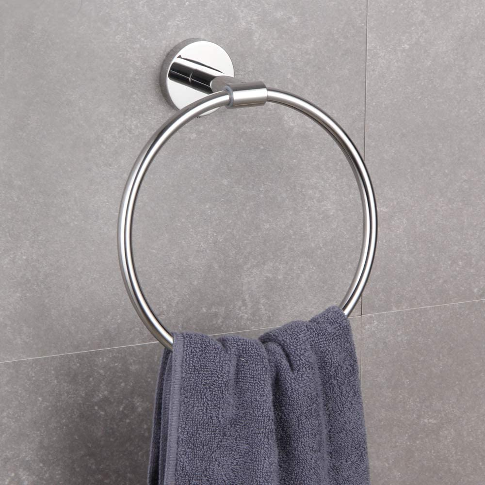 4-Piece Bathroom Hardware Set Double Towel Bar Toilet Paper Holder Tower Ring Towel Hook SUS 304 Stainless Steel Wall Mounted Brushed Pvd Zirconium Gold Finish