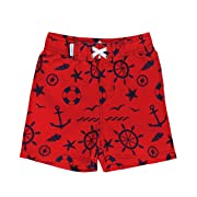 RuggedButts Little Boys Red w/Navy Nautical Print Swim Trunks w/Adjustable Waist - 3-6m