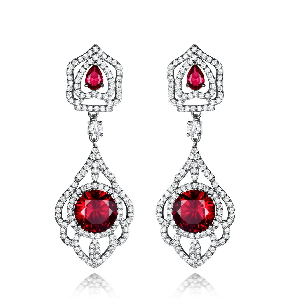 GULICX Silver Tone White Crystal Design Sparkle Women Girl Dangle Earrings