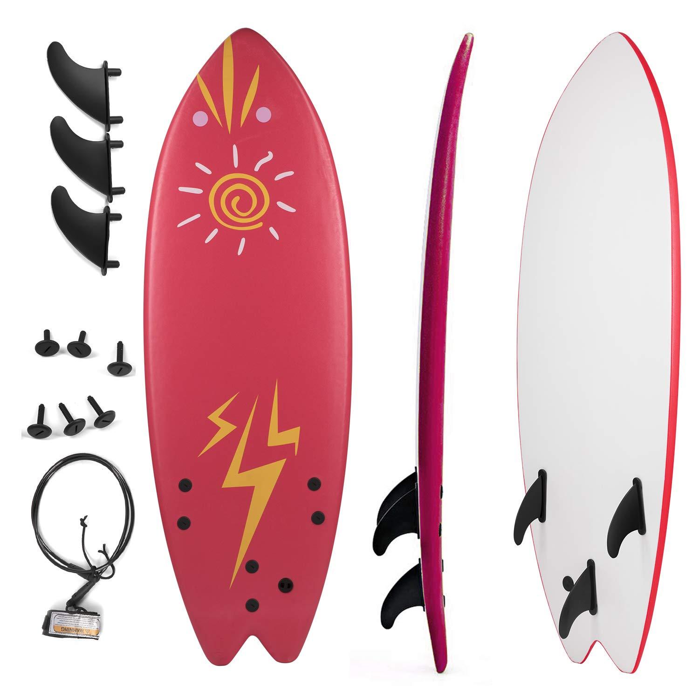 Grande Juguete Surfboard 5'5'', Soft Top Surf Board, Lightweight Surfing Foamie Board Tri Ocean Beach Boards Great for Kids, Adults and Children (Red)