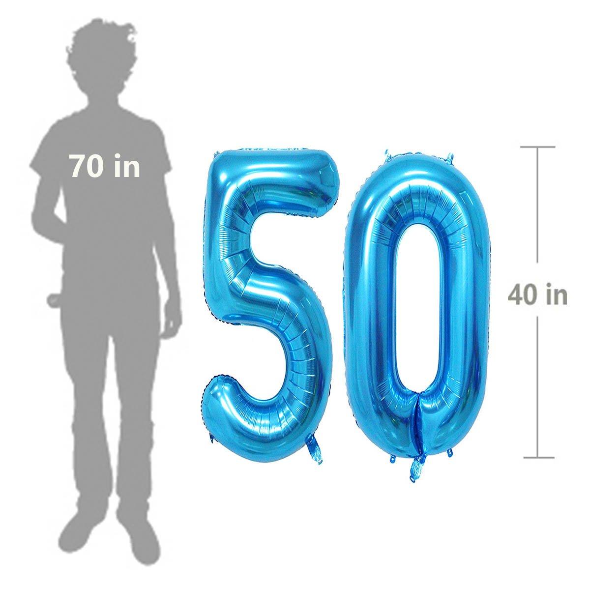 Amazon Number 50 Blue Foil 40inch Jumbo Digital Balloons 50th Birthday Decoration For Men Big Balloon