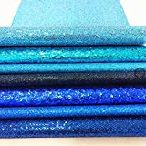 ZAIONE 7 pcs A4 (8'' x 12'') Sheets Colorful Sparkle Chunky Mixed Glitter Vinyl Faux Fabric Craft Leather Sew For Shoes Bag Sewing Patchwork DIY Craft Applique (Mixed Glitter-The Blue Series)