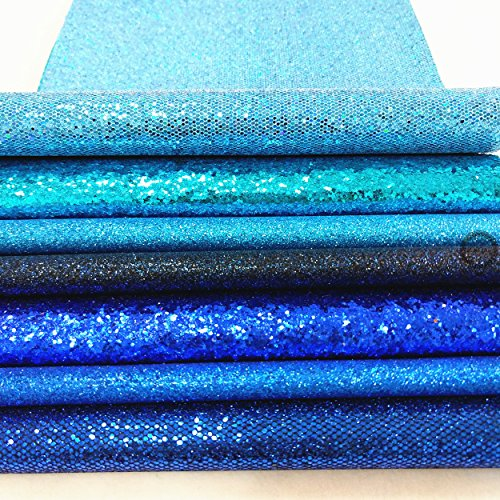 ZAIONE 7 pcs A4 (8'' x 12'') Sheets Colorful Sparkle Chunky Mixed Glitter Vinyl Faux Fabric Craft Leather Sew For Shoes Bag Sewing Patchwork DIY Craft Applique (Mixed Glitter-The Blue Series) by ZAIONE