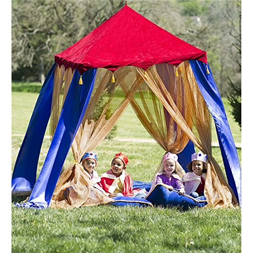Magic Cabin Royal Pavilion Hanging Play Tent Canopy for Kids - Red Velvet Roof - Blue & Gold Panels - Indoor Or Outdoor Use - 60 H x 48 W
