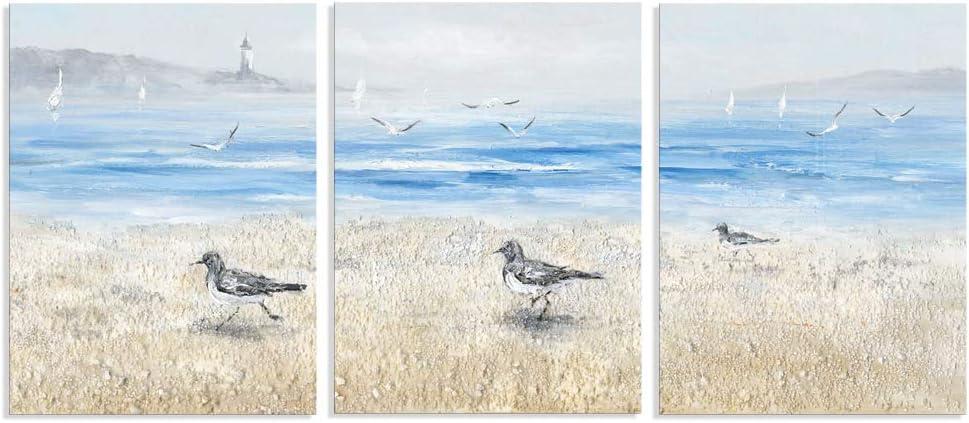 B BLINGBLING 3 Panel Beach Decor Wall Art: Seashore Bird Canvas Pictures, Coastal Seagull Art Sailboat Lighthouse Poster Print Modern Framed Artwork for Bathroom Bedroom Decor (12