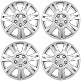 OxGord Hubcaps for 15 inch Standard Steel Wheels (Pack of 4) Wheel Covers - Snap On, Silver