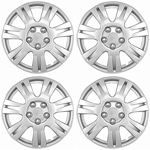 Hubcaps 15 inch Wheel Covers - (Set of 4) Hub Caps for 15in Wheels Rim Cover - Car Accessories Silver Hubcap Best for 15inch Cars Standard Steel Rims - Snap ()