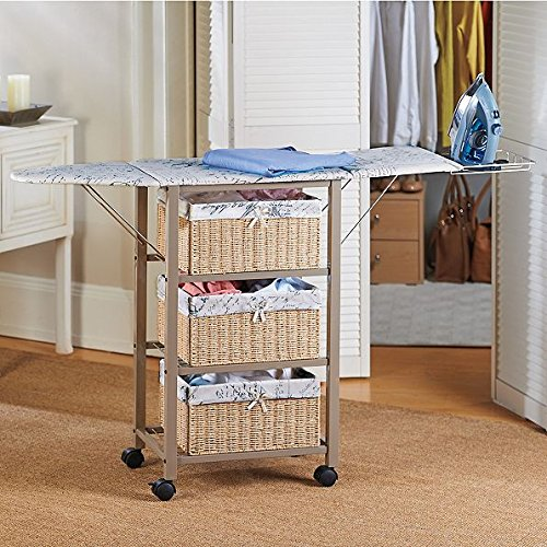 French Script Pattern Ironing Board Center Iron Station Laundry With Storage Baskets by Home Improvements