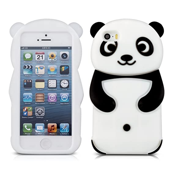 buy online 5d88b 5d0bf kwmobile Panda Silicone Case for Apple iPhone SE / 5 / 5S - Soft Silicone  Gel Protective Cover with Cute Design