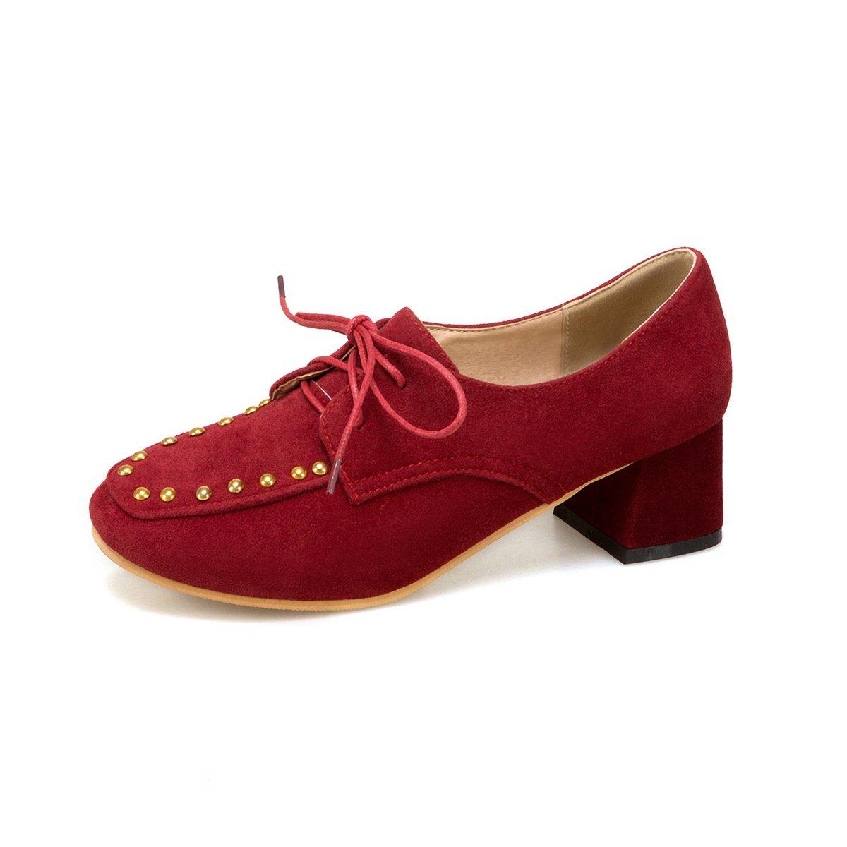 LSM-Heels MEI&S Damen Square Toe Blockabsatz Flachen Mund Mund Flachen Schuhe ROT 367223