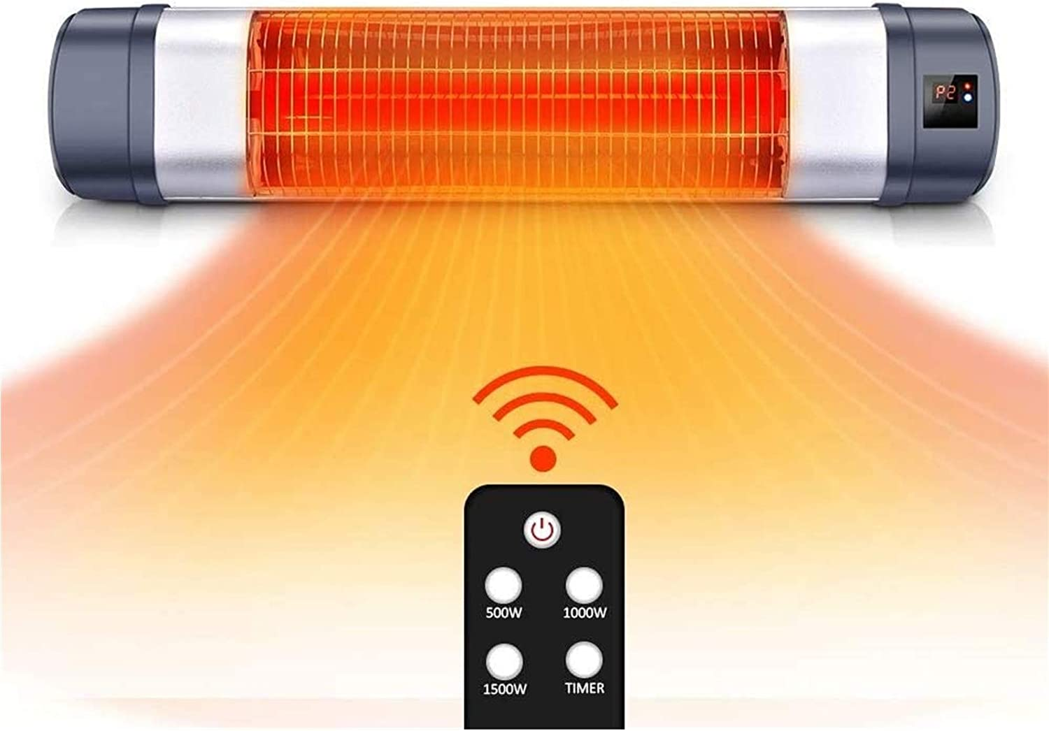 Overheat Protection 1500W Electric Patio Heater with 3 Power Settings TW15R Infrared Heater with Remote Control Super Quite Wall Mounted Space Heater Sunday Living Outdoor Heater in//Outdoor