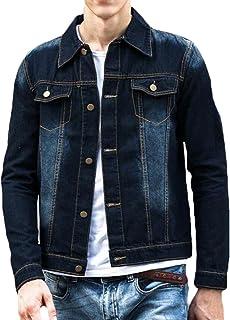 Pivaconis Men's Basic Regular Wash Slim Fit Denim Jacket Classic Trucker Jacket
