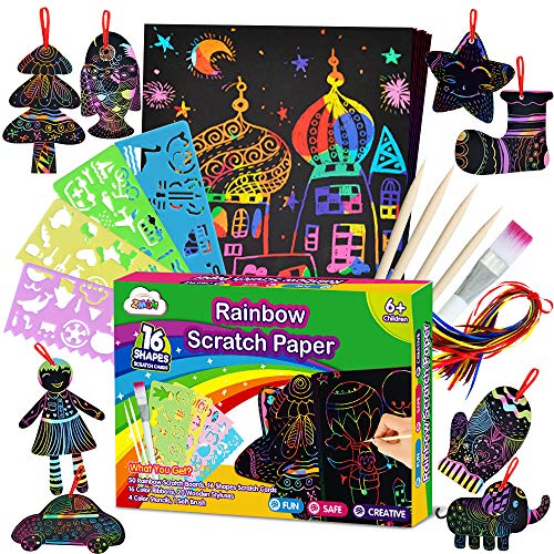 ZMLM Scratch Paper Art Set for Kids – Rainbow Magic Scratch Off Arts and Crafts Supplies Kits Sheet Pack for Children…