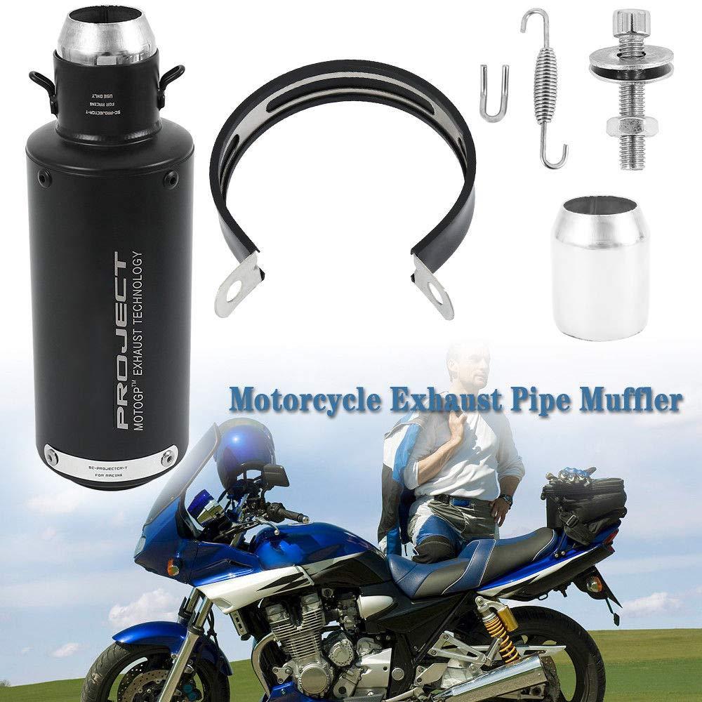 Silenciador de escape de motocicleta en titanio con punta de acero inoxidable /Φ 51/mm//2/negro