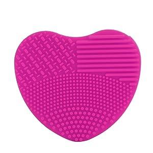 Vovotrade Rápido Fácil Limpieza Cosmético Maquillaje Cepillo Brocha Silicona Limpiador (Rosa caliente)