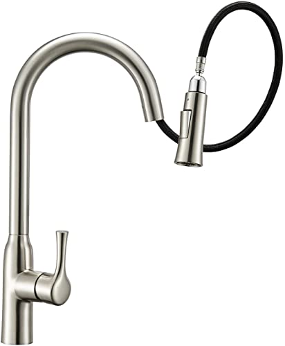 SAMODRA Kitchen Faucet, Brass Sink Faucet with Pull Down Sprayer, Brushed Nickel Gooseneck Faucet, 2-Function Toggle