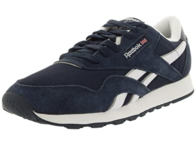 Reebok CL NYLON Shoes NavyWhiteSilver Mens 8