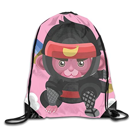Naiyin Drawstring Backpack Bag Monkey As A Ninja Rucksack ...