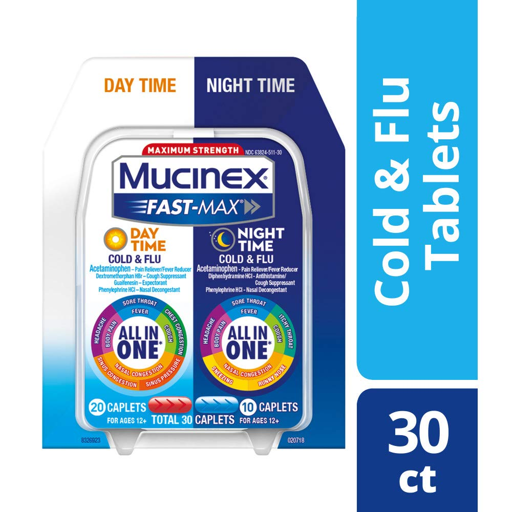 Mucinex Fast-Max Day Time Cold & Flu/Night Time Cold & Flu Caplets. Maximum Strength - 30 caplets - All in One Multi Symptom Relief by Mucinex