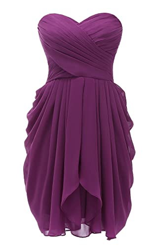 Kiss Dress Women's Strapless Chiffon Short Bridesmaid Dresses Prom Gowns