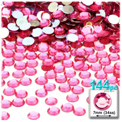 The Crafts Outlet 144-Piece Flat Back Round Rhinestones, 7mm, Hot - Acrylic Embellishments