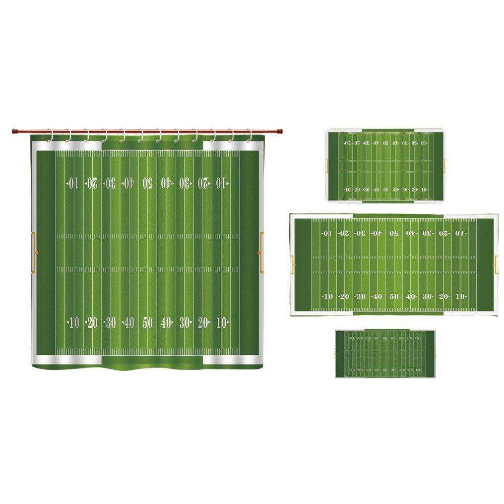 Bathroom 4 Piece Set Shower Curtain Floor mat Bath Towel Customized,Football,Sports Field in Green Gridiron Yard Competitive Games College Teamwork Superbowl,Green White,Graph Customization Design.
