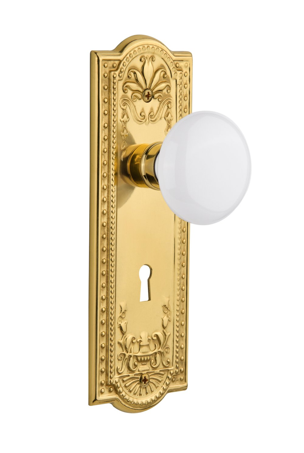 Oil-Rubbed Bronze Nostalgic Warehouse Meadows Plate with Keyhole White Porcelain Knob 2.375 Privacy