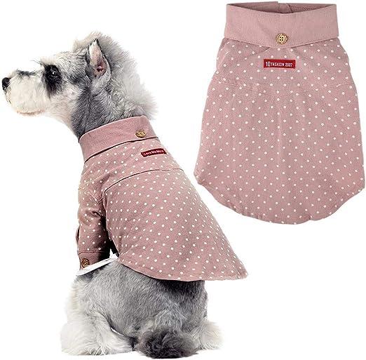 Nitrip Camisa para Perro, Lunares, Suave, Casual, Suave, Camisa Occidental para Perros, algodón: Amazon.es: Productos para mascotas