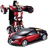 Brand Conquer Robot Races Car Toys Friction Family Toy Racing Car - Automatic Convert from CAR to Robot with 4D Light (Red and Blue))