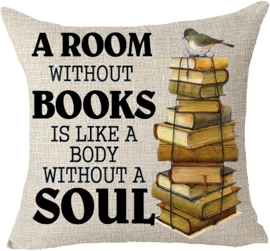 """Queen's Designer A Room Without Books is Like A Body Without A Soul Retro Books Decoration Cotton Linen Decorative Throw Pillow Case Cushion Cover Square 18"""" X18 (B)"""
