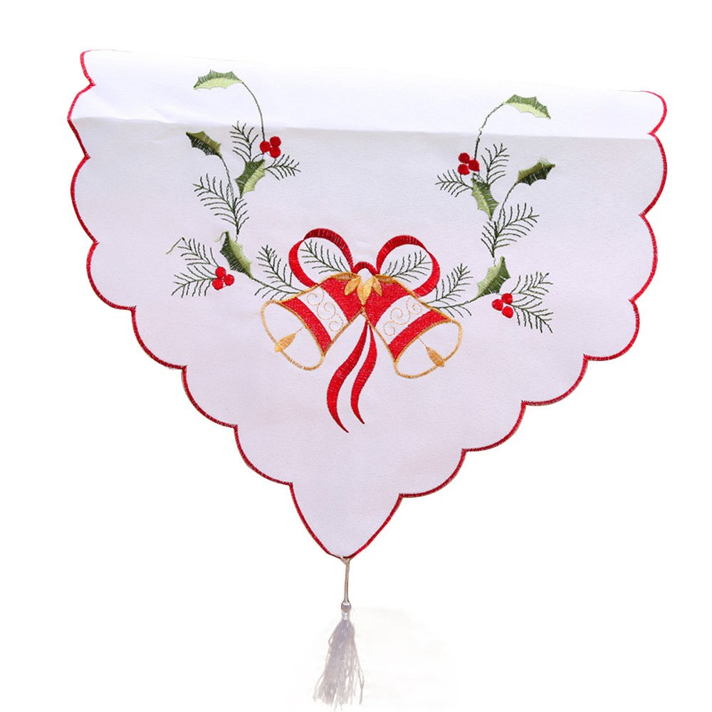 Ouniman Embroidered Christmas Theme Table Runner Bell Table Linens for Christmas Decorations Dresser Scarves Embroidered