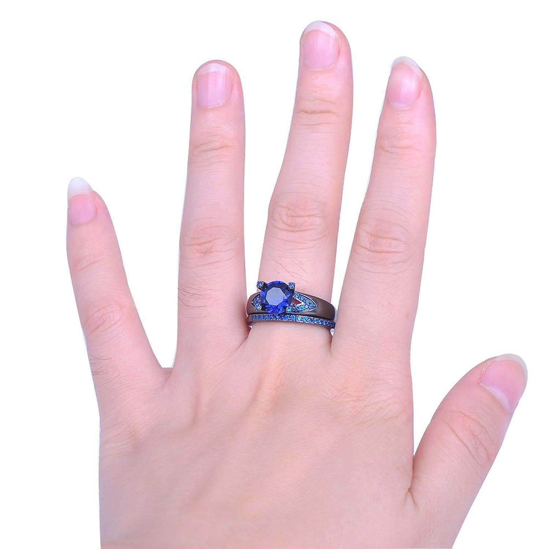 Amazon.com: Bamos Jewelry Womens Lab Stone Blue Cubic Zirconia Black ...