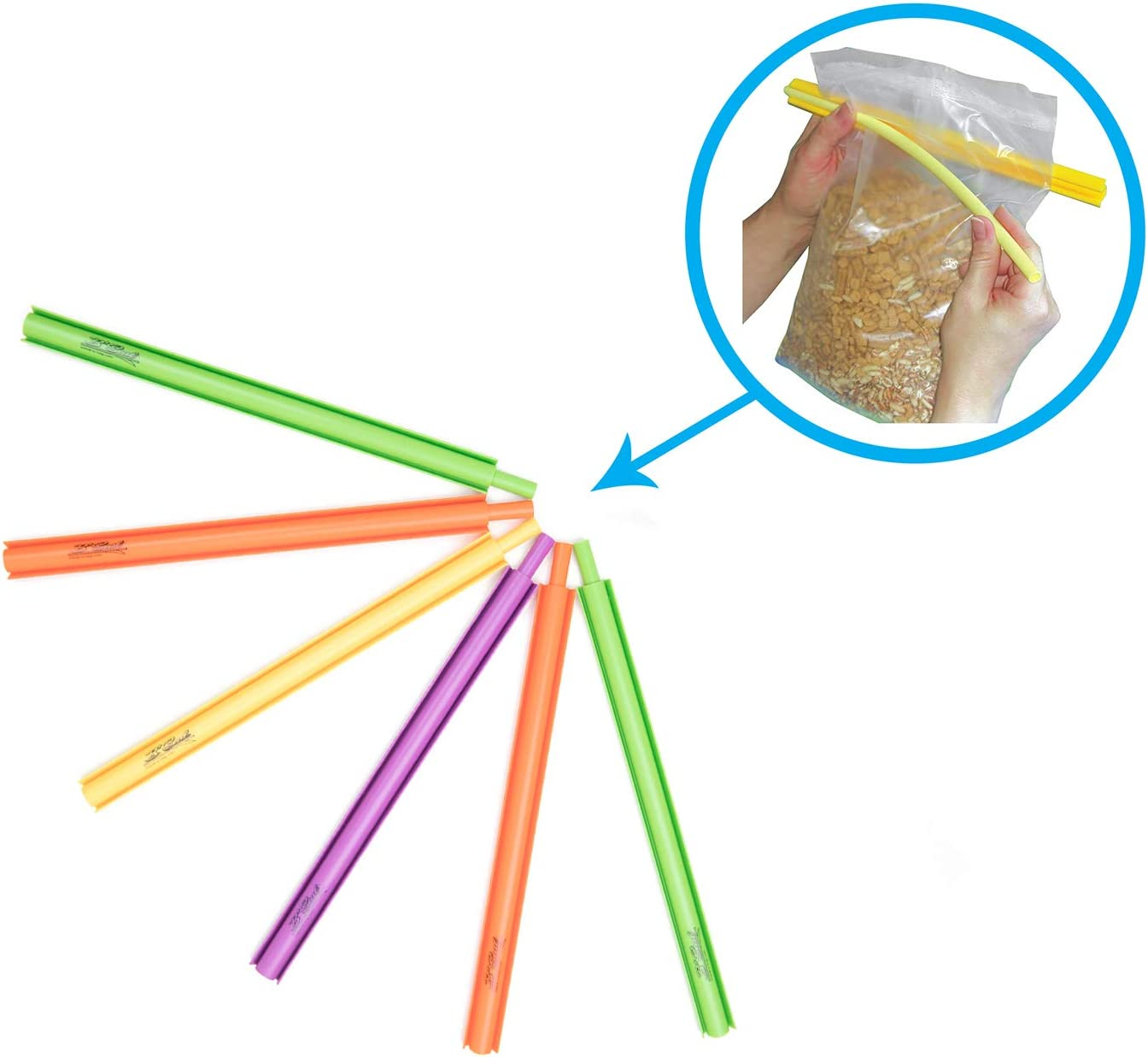 B'Seal Bag Sealer Chip Clip, Flexible, Dishwasher Safe, Freezer Friendly Airtight Food Seal Clamp (6 pack)