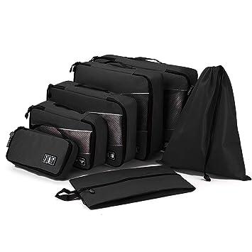 Tramean 7 Set Packing Cubes, organizadores de equipaje de viaje a prueba de agua con bolsa de lavadero y artículos de tocador: Amazon.es: Equipaje