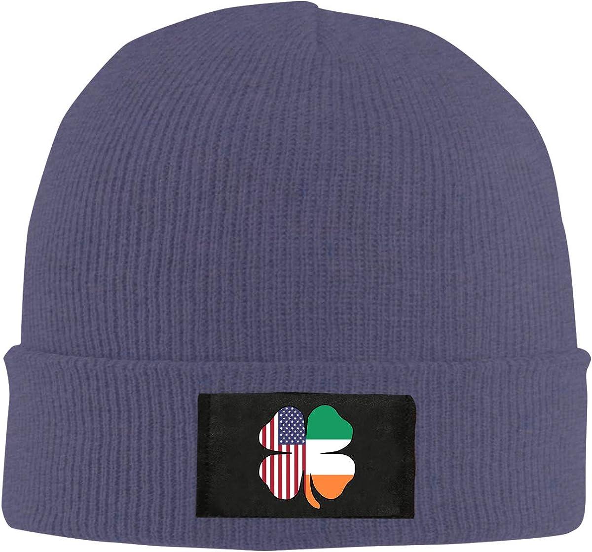 American Irish Flag Shamrock Men Women Knitted Hat Comfortable Beanie Cap