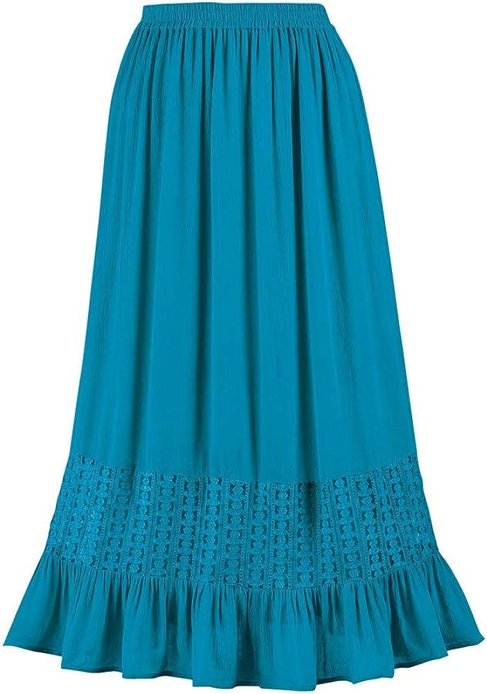 Lace Trim Ruffle Hem Woven Skirt with Elastic Waistband - Stylish Seasonal Skirt for Everyday Wear