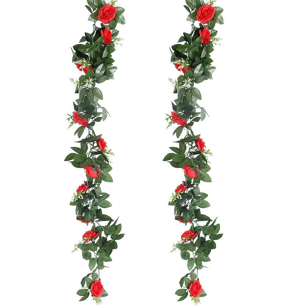 Rose 2pcs x 2.4M Fleurs Artificiels Faux Roses en Soie et Lierre Plante Artificielle Interieur Exterieur Guirlandes de Roses pour F/ête Noel Mariage Cuisine Jardin GoMaihe Roses Artificielles Deco