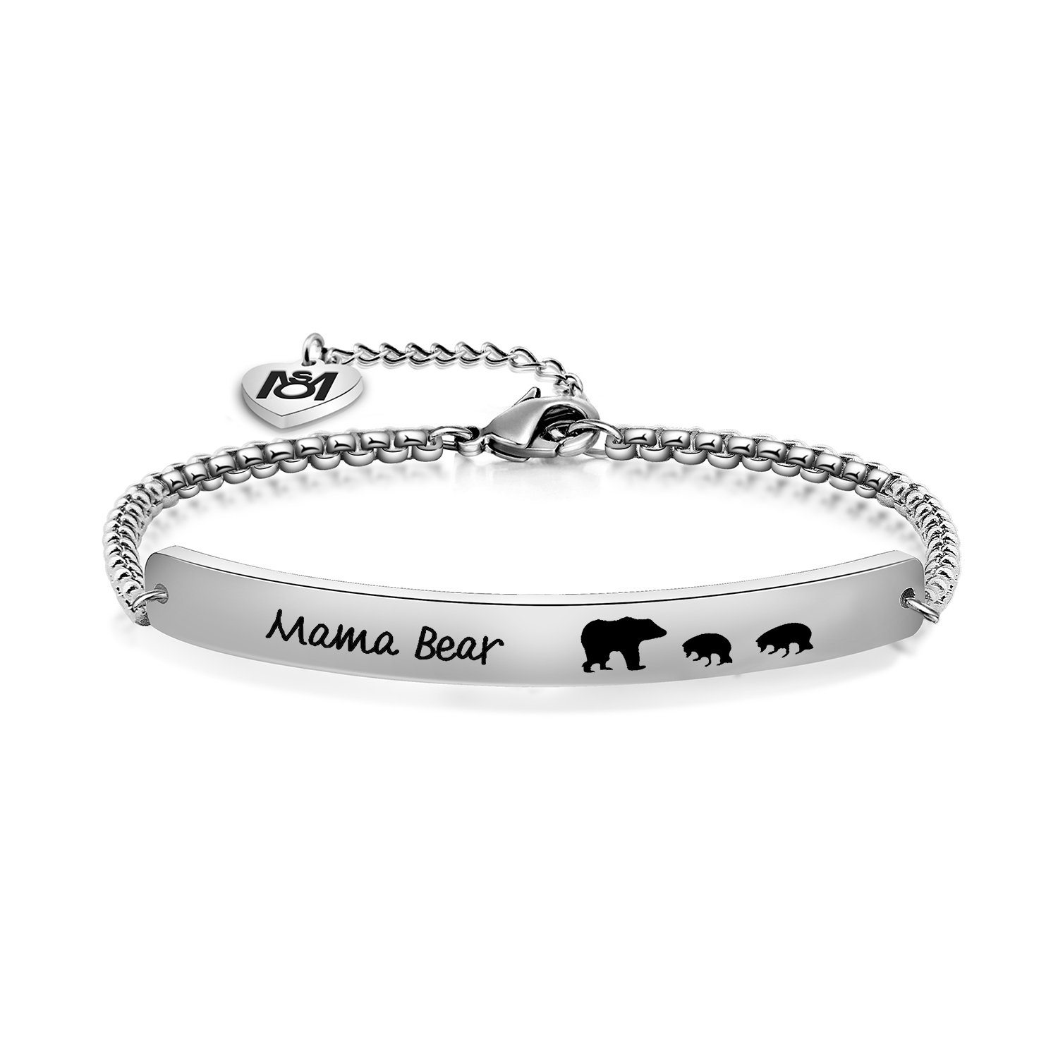 MYOSPARK Sweet Family Mama Bear Bracelet Stainless Steel Bar Bracelet Gift for Mother Wife (2 Bear)