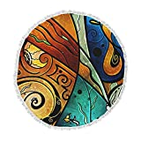 KESS InHouse Mandie Manzano Sea Dance Blue Orange Round Beach Towel Blanket