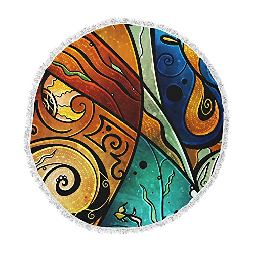 KESS InHouse Mandie Manzano Sea Dance Blue Orange Round Beach Towel Blanket by Kess InHouse